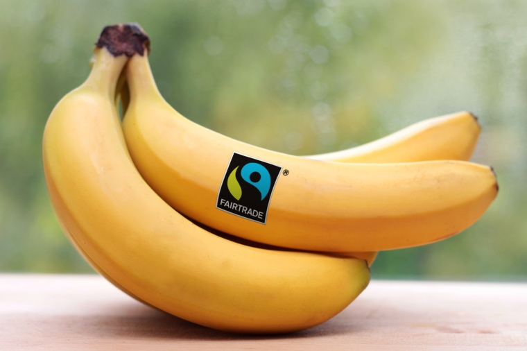 Bananas bearing the FAIRTRADE Mark.